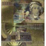 Italy Banknote of 10000 To read colourized and gilded with the fine gold 24K