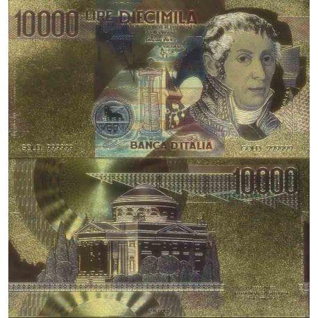 Italie Billet de banque de 10000 Lire colorisé et doré à l'or fin 24K
