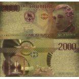 Italien Banknote von 2000 koloriert und vergoldet am feinen Gold 24K Lire