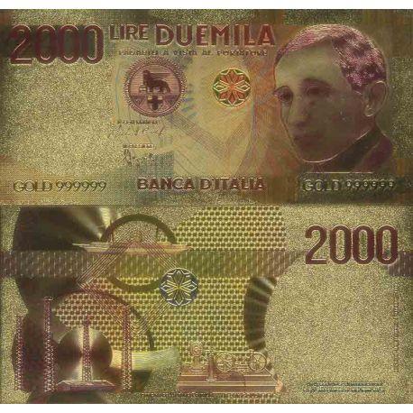 Italie Billet de banque de 2000 Lire colorisé et doré à l'or fin 24K