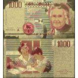 Italie Billet de banque de 1000 Lire colorisé et doré à l'or fin 24K