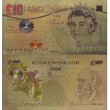 Gran Bretagna biglietto di banca di 10 Pound e dorato all'oro fine 24K