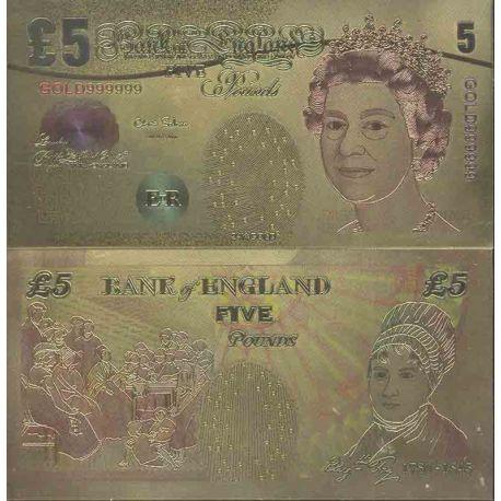 Grande Bretagne Billet de banque de 5 Pound colorisé et doré à l'or fin 24K