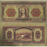 Costa Rica Banknote of 2 Colonist colourized and gilded with the fine gold 24K