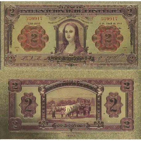 Costa Rica Billet de banque de 2 Colon colorisé et doré à l'or fin 24K