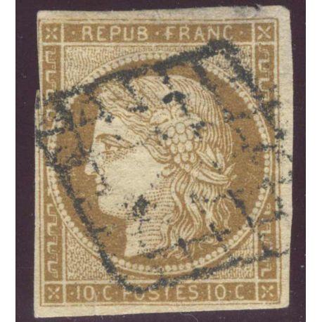 Timbre collection France N° Yvert et Tellier 1 Oblitération grille
