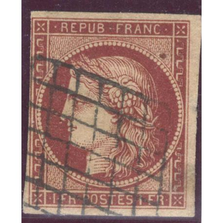 Timbre collection N° Yvert et Tellier 6 Oblitération grille