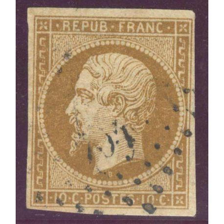 Timbre collection N° Yvert et Tellier 9 Oblitéré, Court sur 3 cotés