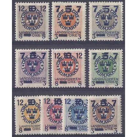 Timbre collection Suède N° Yvert et Tellier 112/121 Neuf avec charnière
