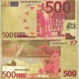 Europe Banknote of 500 EURO colourized and gilded with the fine gold 24K