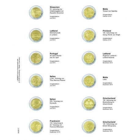 Feuille pour pièces 2 € commémoratives: Juillet 2016 - Décembre 2016