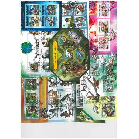 Collection Timbres oiseaux 10 blocs modernes oblitérés sur le théme des Hiboux à partir de 7,50 €