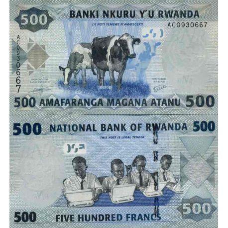 Billete de banco colección Ruanda - PK N° 38 - 500 Francos