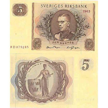 Billet de banque collection Suede - PK N° 42 - 5 Kronor