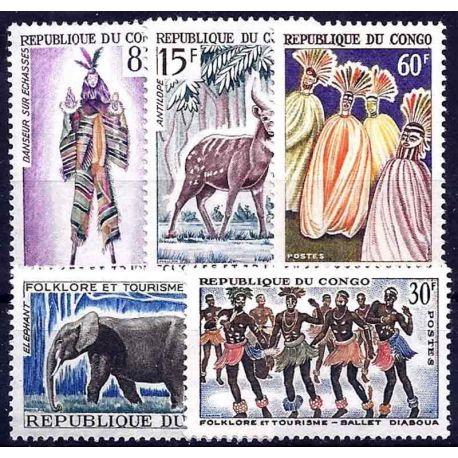 Stempel Sammlung der Kongo N° Yvert und Tellier 162/166 neun ohne Scharnier