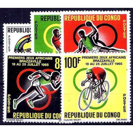 Francobollo raccolta Congo N° Yvert e Tellier 175/179 nove senza cerniera