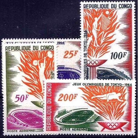 Stempel Sammlung der Kongo N° Yvert und Tellier PA 21/24 neun ohne Scharnier