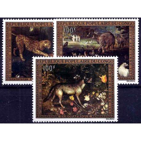 Francobollo raccolta Congo N° Yvert e Tellier PA 171/173 nove senza cerniera