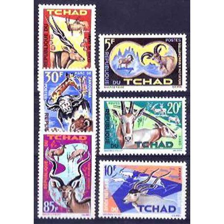 Stempel Sammlung Tschad N° Yvert und Tellier 104/109 neun ohne Scharnier