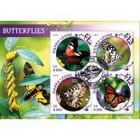 Bloc de 4 timbres Papillons