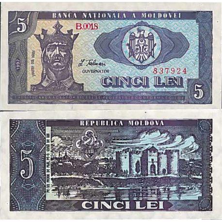 Billet de banque collection Moldavie - PK N° 6 - 5 Leu