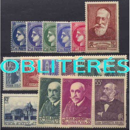 Francia anno completo 1938 francobolli annullati