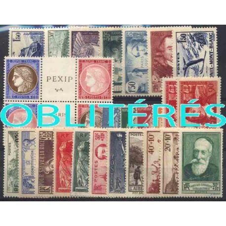 Francia anno completo 1937 francobolli annullati