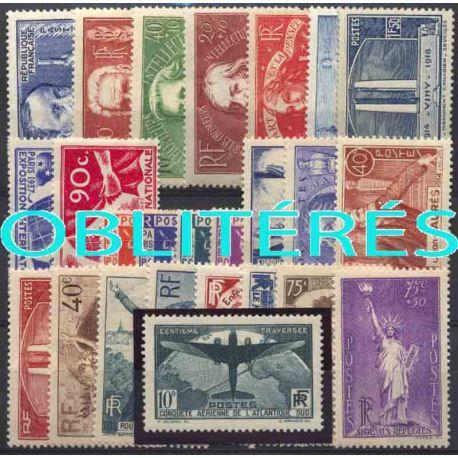 Francia anno completo 1936 francobolli annullati