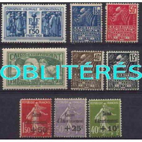 Francia anno completo 1931 francobolli annullati