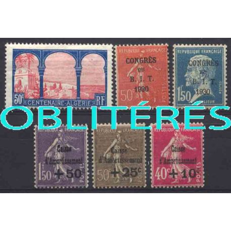 Francia anno completo 1930 francobolli annullati