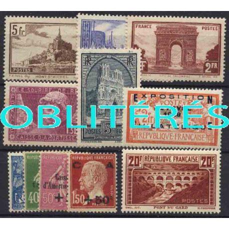 Francia anno completo 1929 francobolli annullati