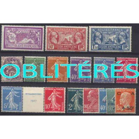 Francia anno completo 1927 francobolli annullati