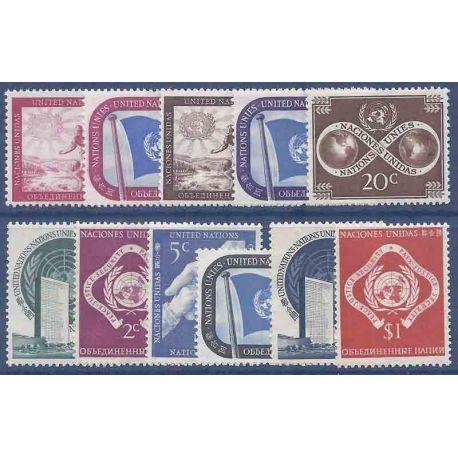 Sello colección ONU Nueva York N° Yvert y Tellier 1/11 Nueve sin bisagra