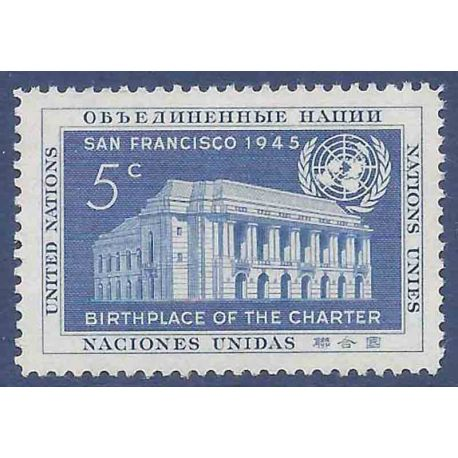 Francobollo raccolta ONU New York N° Yvert e Tellier 12 nove senza cerniera