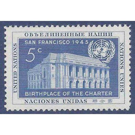 Sello colección ONU Nueva York N° Yvert y Tellier 12 Nueve sin bisagra