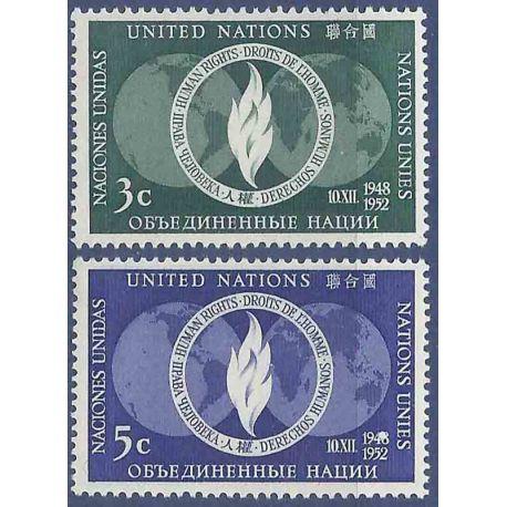 Sello colección ONU Nueva York N° Yvert y Tellier 13/14 Nueve sin bisagra