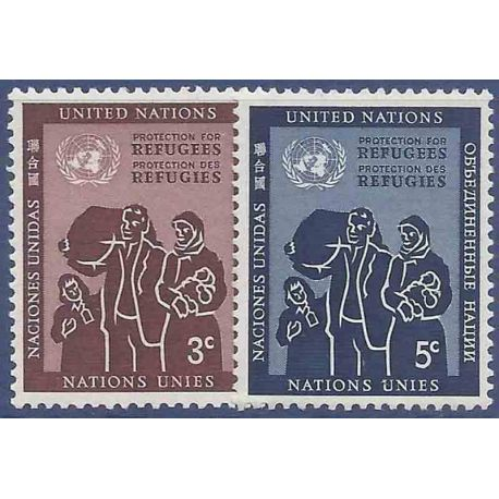 Francobollo raccolta ONU New York N° Yvert e Tellier 15/16 nove senza cerniera