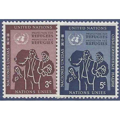 Sello colección ONU Nueva York N° Yvert y Tellier 15/16 Nueve sin bisagra