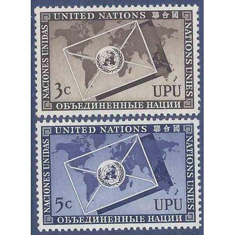 Sello colección ONU Nueva York N° Yvert y Tellier 17/18 Nueve sin bisagra