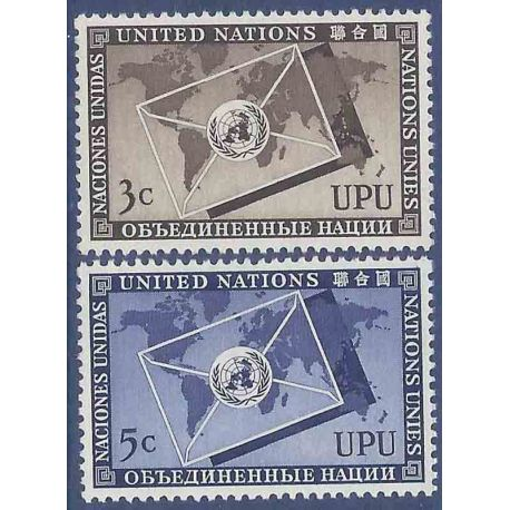 Timbre collection ONU New-York N° Yvert et Tellier 17/18 Neuf sans charnière