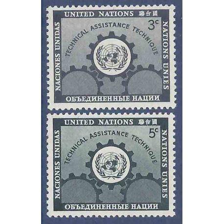 Francobollo raccolta ONU New York N° Yvert e Tellier 19/20 nove senza cerniera