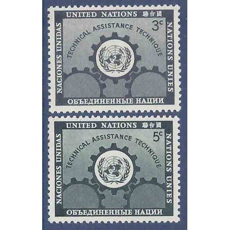 Sello colección ONU Nueva York N° Yvert y Tellier 19/20 Nueve sin bisagra