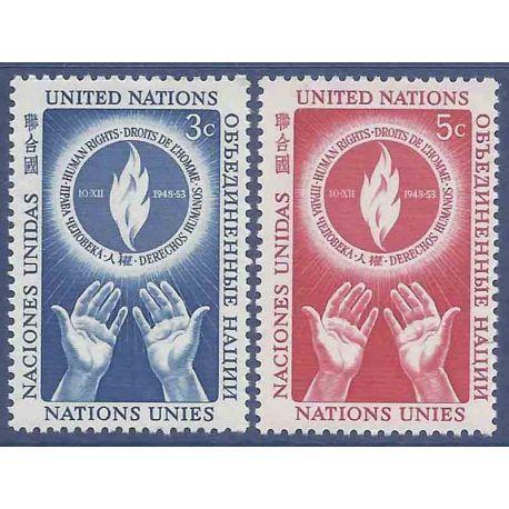 Francobollo raccolta ONU New York N° Yvert e Tellier 21/22 nove senza cerniera