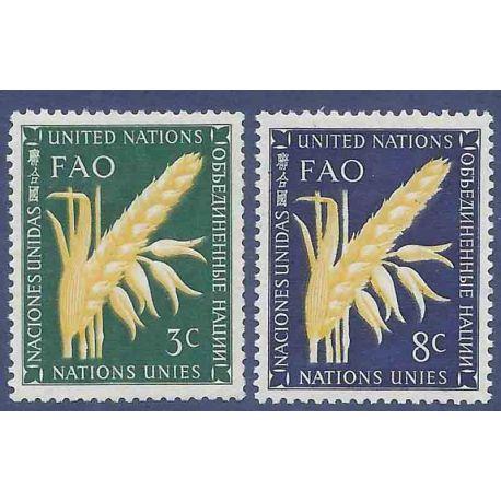 Sello colección ONU Nueva York N° Yvert y Tellier 23/24 Nueve sin bisagra