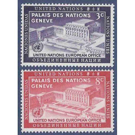 Francobollo raccolta ONU New York N° Yvert e Tellier 25/26 nove senza cerniera