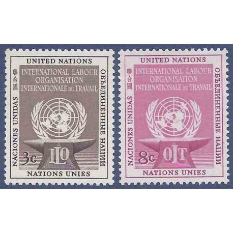 Francobollo raccolta ONU New York N° Yvert e Tellier 27/28 nove senza cerniera