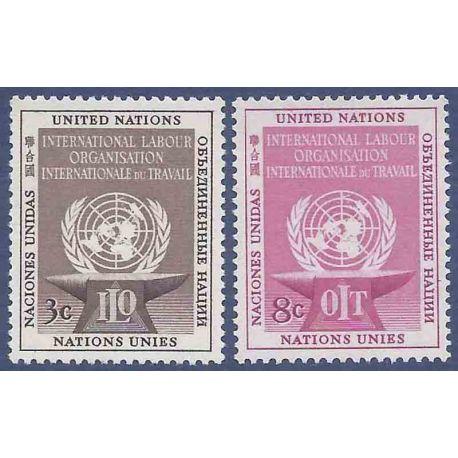 Sello colección ONU Nueva York N° Yvert y Tellier 27/28 Nueve sin bisagra