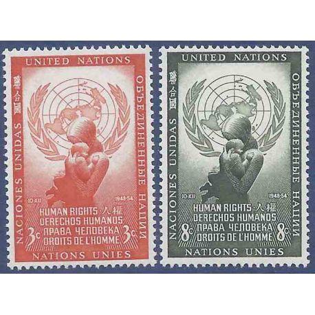 Sello colección ONU Nueva York N° Yvert y Tellier 29/30 Nueve sin bisagra