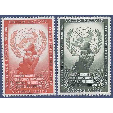 Timbre collection ONU New-York N° Yvert et Tellier 29/30 Neuf sans charnière