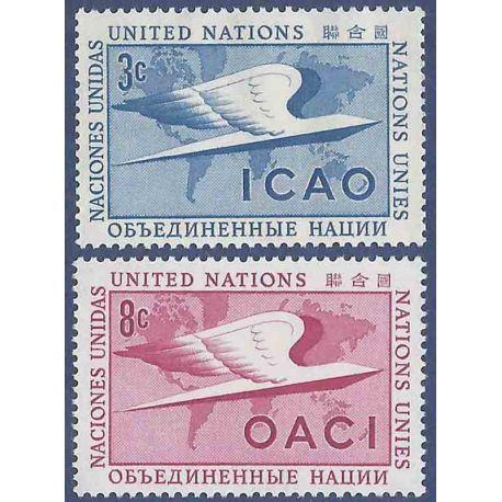 Sello colección ONU Nueva York N° Yvert y Tellier 31/32 Nueve sin bisagra